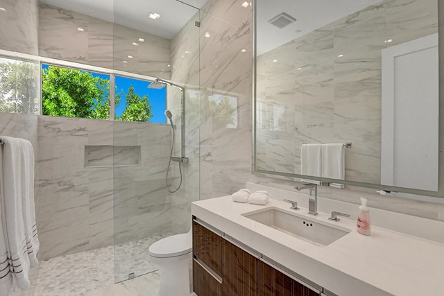 Bathroom in a $38,000 per month Palm Springs home for rent
