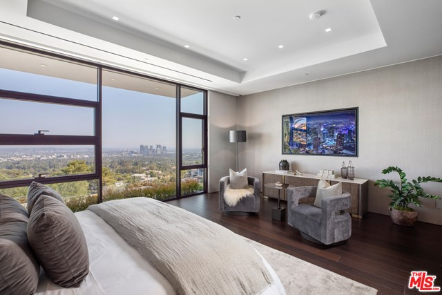 Bedroom in a $46,500,000 Beverly Hills home for sale
