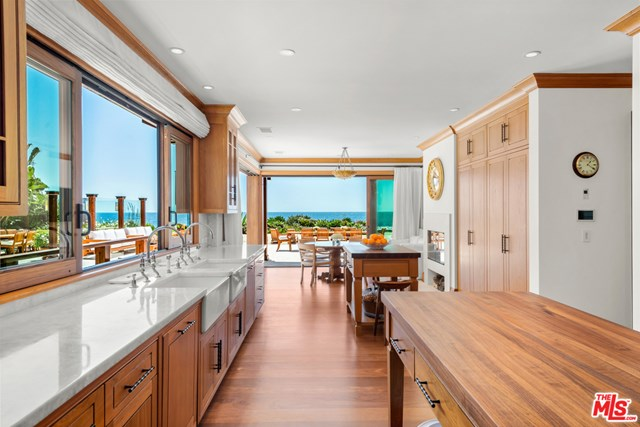 Kitchen in a $100,000,000 Malibu home for sale