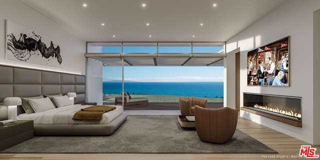 Bedroom in a $75,000,000 Malibu home for sale