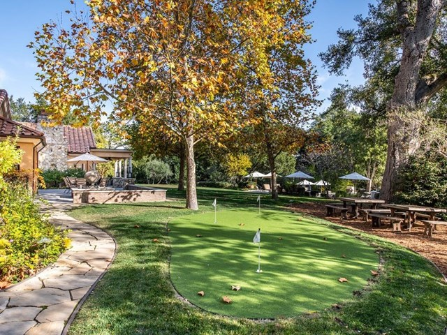 Backyard in a $48,000,000 Woodside home for sale