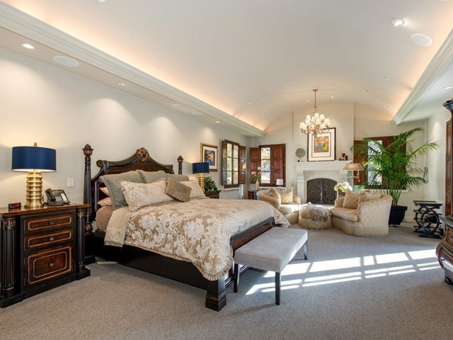 Bedroom in a $48,000,000 Woodside home for sale
