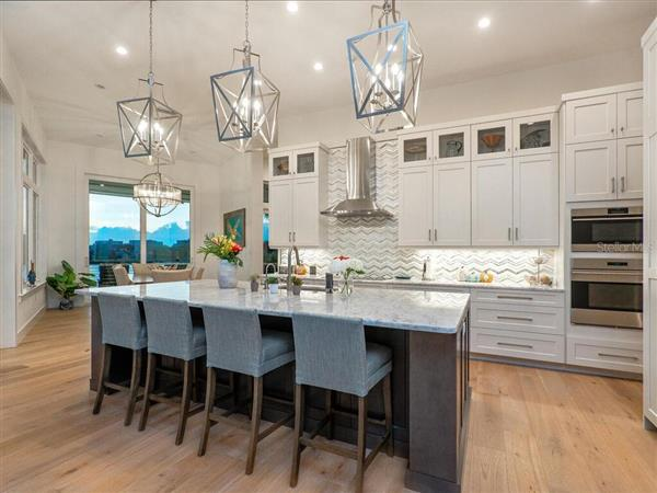 Kitchen in a $6,490,000 Sarasota home for sale