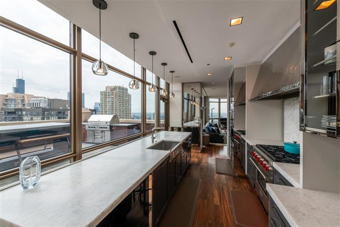 Kitchen in a $8,500,000 Chicago home for sale