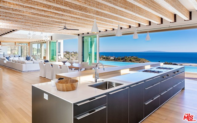 Kitchen in a $49,500,000 Malibu home for sale
