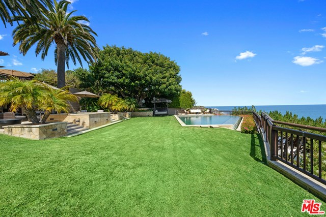 Backyard in a $200,000 per month Malibu home for rent
