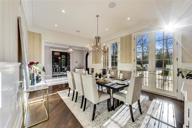 Dining room in a $9,775,000 Kenilworth home for sale