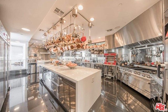 Kitchen in a $115,000,000 Malibu home for sale