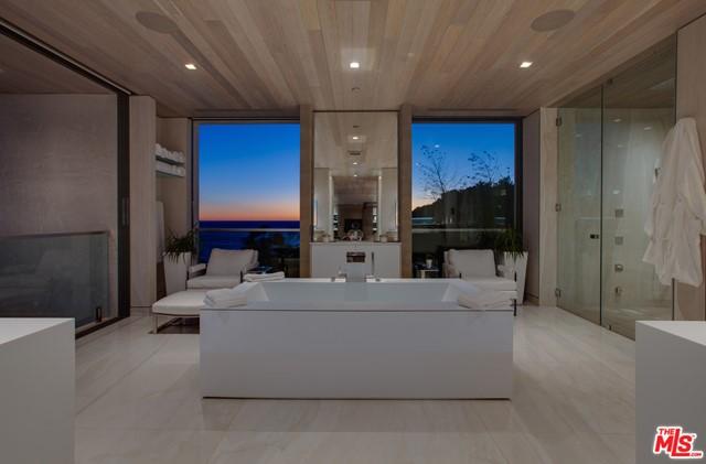 Bathroom in a $49,995,000 Malibu home for sale